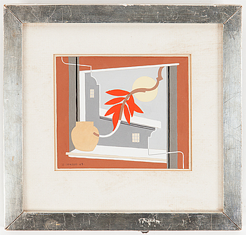 """9. Sven Jonson, """"Komposition med rött blad"""" (Composition with red leaf)."""