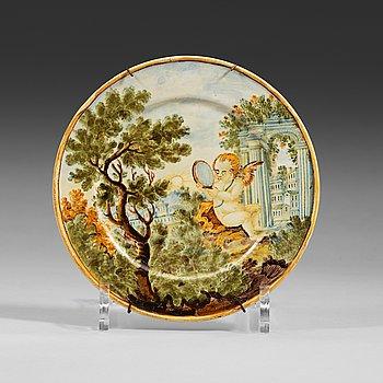 1337. FAT, majolika. Italien, Castelli, 1700-tal.