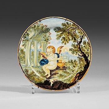 1338. FAT, majolika. Italien, Castelli, 1700-tal.