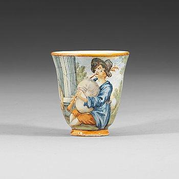 1340. KOPP, majolika. Italien, Castelli, 16/1700-tal.