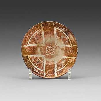 """801. BOWL. Pottery with a lustre decor. """"Kashan style"""", Iran 13th century. Diameter 14,8-15 cm."""