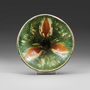 799. A BOWL. Pottery. Probably Nishapur 10th century, Iran. Diameter 28,5 cm.