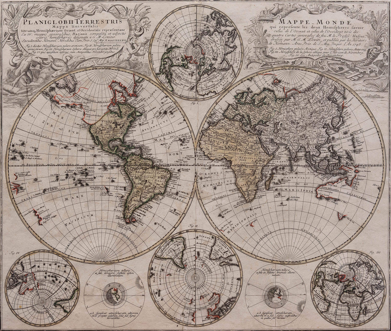 Karta Quatro.Karta Homann Map Of The World 1746 Bukowskis