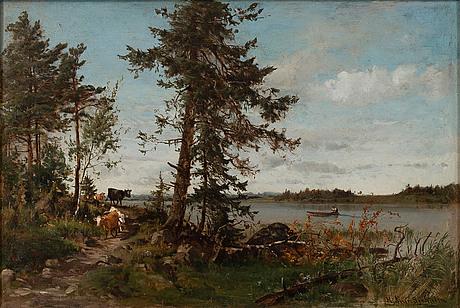 Hjalmar munsterhjelm, sommarlandskap med kor