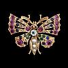 Brosch, 14k guld, odlade pärlor, safirer, rubiner, akvamarin, rosenslipade diamanter.