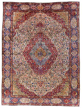814. CARPET. Semi-antique Silk Kashan. 428 x 315,5 cm.
