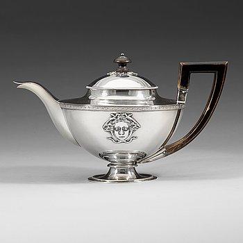 411. A Swedish 19th century silver tea-pot, Adolf Zethelius, Stockholm 1812.