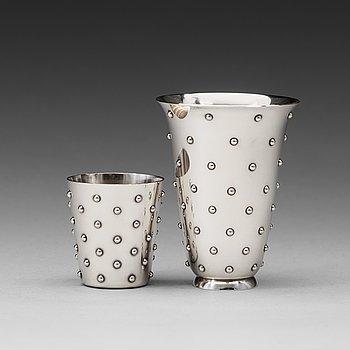 15. Sigvard Bernadotte, a sterling vase and beaker, Georg Jensen, Copenhagen 1945-77.