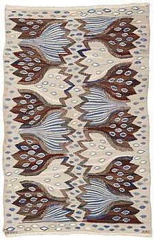 """467. Ann-Mari Lindbom, gift Forsberg, TEXTILE. """"Blå crocus"""". Tapestry variant. 58,3 x 94,5 cm. Signed AB MMF AML."""