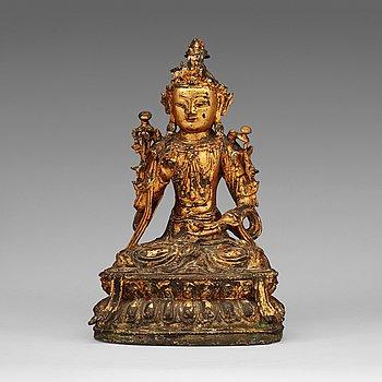 3. BODHISATTVA, förgylld brons. Mingdynastin (1368-1644).
