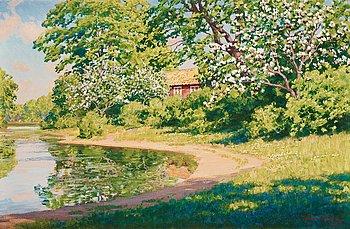 855. Johan Krouthén, Blommande äppelträd vid vattendrag.