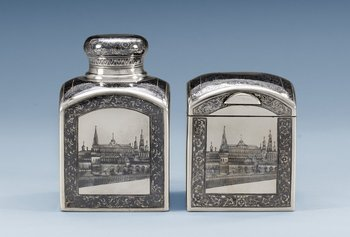 1145. A SET OF RUSSIAN SILVER AND NIELLO TEA-CADDY AND SUGAR-BOX, makers mark of Pavel Ameriantiyev, Moscow 1899-1908.