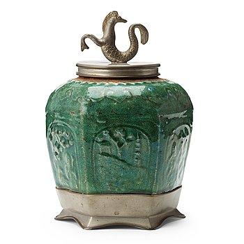 298. Estrid Ericson, a stoneware and pewter jar with cover, Svenskt Tenn, Stockholm 1927.