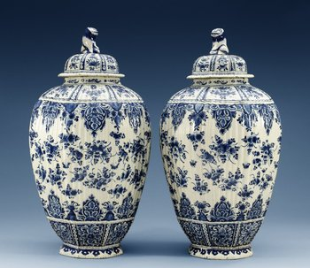 1210. A pair of French faience jars with covers, 18th Century. (2).