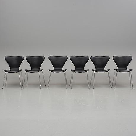"""Arne jacobsen, stolar, 6 stycken, """"sjuan"""", fritz hansen, 1900/2000-tal."""