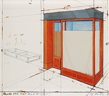 "4. CHRISTO & JEANNE-CLAUDE, ""Orange store front, project""."