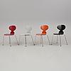 """Arne jacobsen, stolar, 4 stycken, """"myran"""", fritz hansen, 1900-talets slut."""