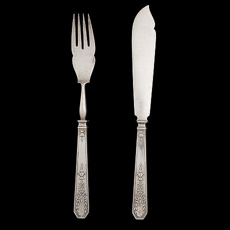 Fiskbestick 12+12, silver, fabergé, moskva 1900 talets början, totalvikt 1754 g