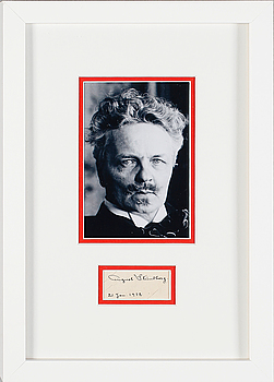 AUGUST STRINDBERG, fotografi samt signatur. Daterad 21 januari 1912.
