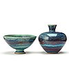 Berndt friberg, a stoneware vase and a bowl, gustavsberg studio 1973-75.