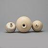Berndt friberg, three stoneware vases, gustavsberg studio, sweden 1972-77.