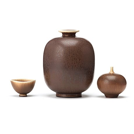 Berndt friberg, a set of two stoneware vases and a bowl, gustavsberg studio 1970's.