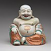 A large famille rose tureen with cover in the shape of budai, qing dynastin, qianlong (1736-95).