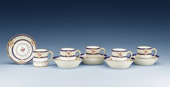 "A set of five ""Sèvres"" cups with stands, France, 18th Century. (5). Height of cups 7 cm."