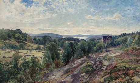 """Alfred wahlberg """"svenskt landskap, motiv från torreby"""""""