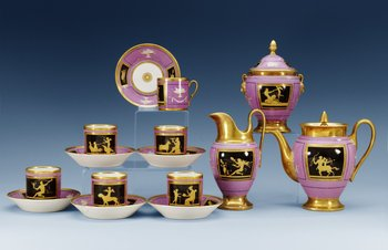 An Empire nine pieces coffee service, first half of 19th Century. (9).