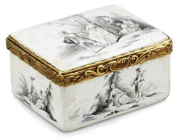 562. An 18th century, probably English, enamel snuffbox.