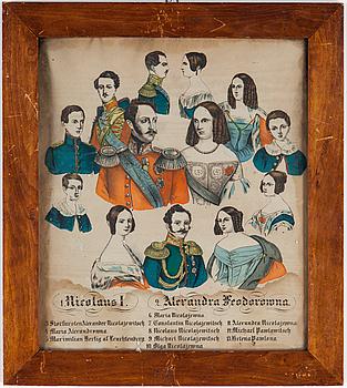 FÄRGGRAVYR, bla med motiv Nicolaus I & Alexandra Fedorowna av Ryssland, 1800-talets första hälft.
