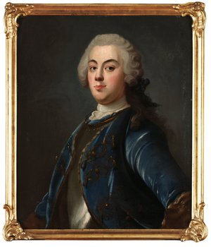 232. OLOF ARENIUS Ädling i blå sammetsrock och bröstharnesk