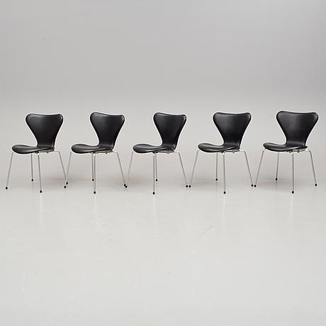 """Arne jacobsen, stolar, 5 stycken, """"sjuan"""", fritz hansen, 1900/2000-tal."""