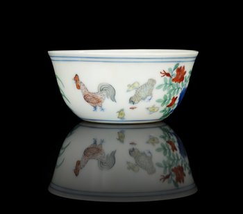 1326. A rare doucai 'Chicken' cup, Ming dynasty, six character mark and period of Chenghua (1465-87).