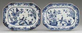 9. STEKFAT, ett par, kompaniporslin. Qing dynastin, Qianlong (1736-95).