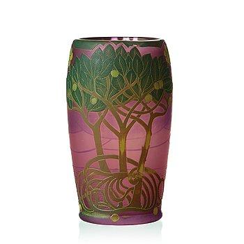 52. FRITZ BLOMQVIST, an Art Nouveau cameo glass vase, Orrefors Sweden ca 1915-16.