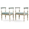 Two matched late gustavian circa 1800 stools.