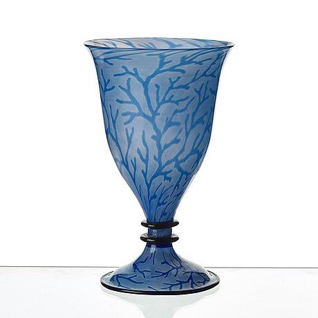 Edward hald, a 'graal' glass vase, orrefors sweden 1918.