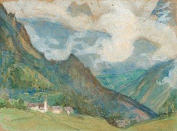 """412. Richard Bergh, """"Landskap från Tyrolen"""" (Landscape from the Alps)."""