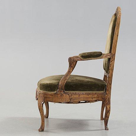 A rococo 18th century armchair.