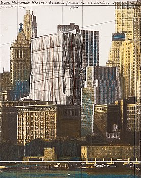 """5. Christo & Jeanne-Claude, """"Lower Manhattan wrapped building, project for 2 Broadway, New York""""."""