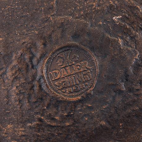 Kopia av plÅtmynt, metall, märkt 10 daler silvermynt, drottning kristina 1644. 1900-talets andra hälft.