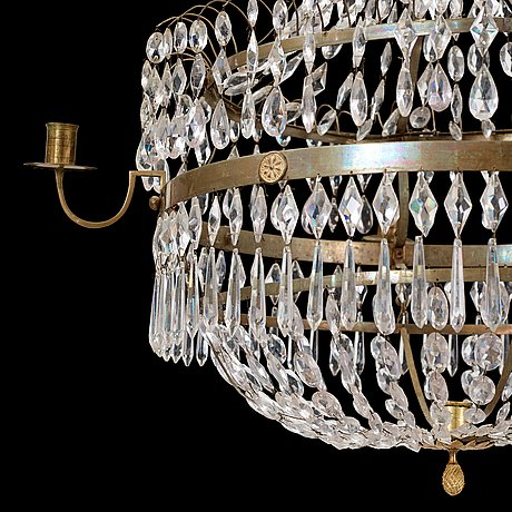 A late gustavian early 19th century five-light chandelier.