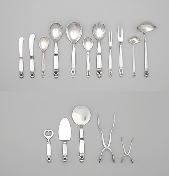 10. Johan Rohde, a 98 pcs set of 'Acorn' sterling and stainless steel flatware by Georg Jensen, Copenhagen 1945-77.