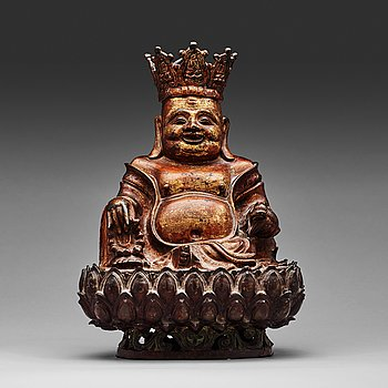 7. A large seated bronze figure of budhai, Ming dynasty (1368-1644).