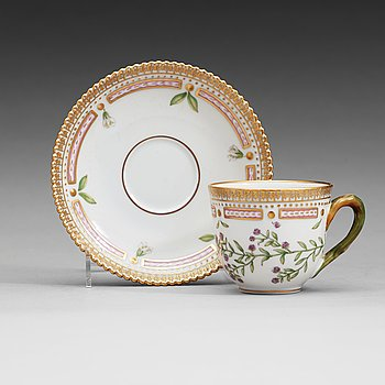 411. A set of nine Royal Copenhagen 'Flora Danica' coffee cups with saucers, Denmark.