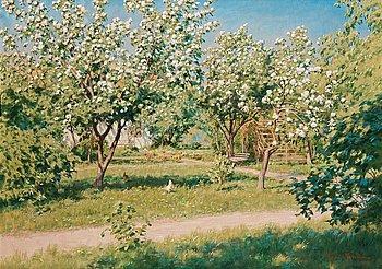 """722. Johan Krouthén, """"Blommande äppelträd""""."""