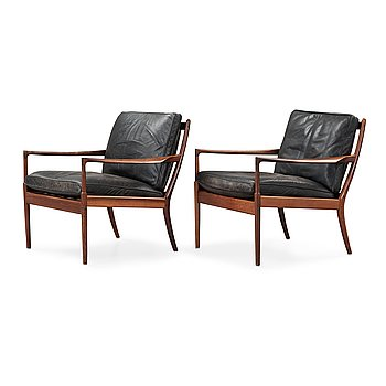 422. IB KOFOD LARSEN, a pair of palisander and black leather 'Samsö' armchairs, 1960's, for Thysell's, Anderslöv, Sweden.