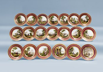 A set of 20 French Empire dessert dishes. (20).